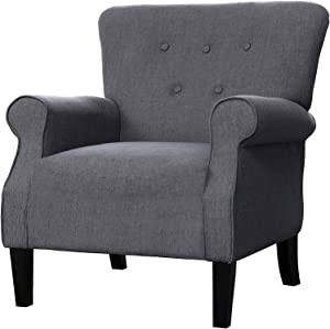 """LOKATSE HOME Modern Classic Accent Fabric Arm Chair, Linen Upholstered Single Sofa with Solid Wood Legs for Living Room, Bedroom, Club, 29.3""""x28.7""""x39.6"""", Dark Grey"""
