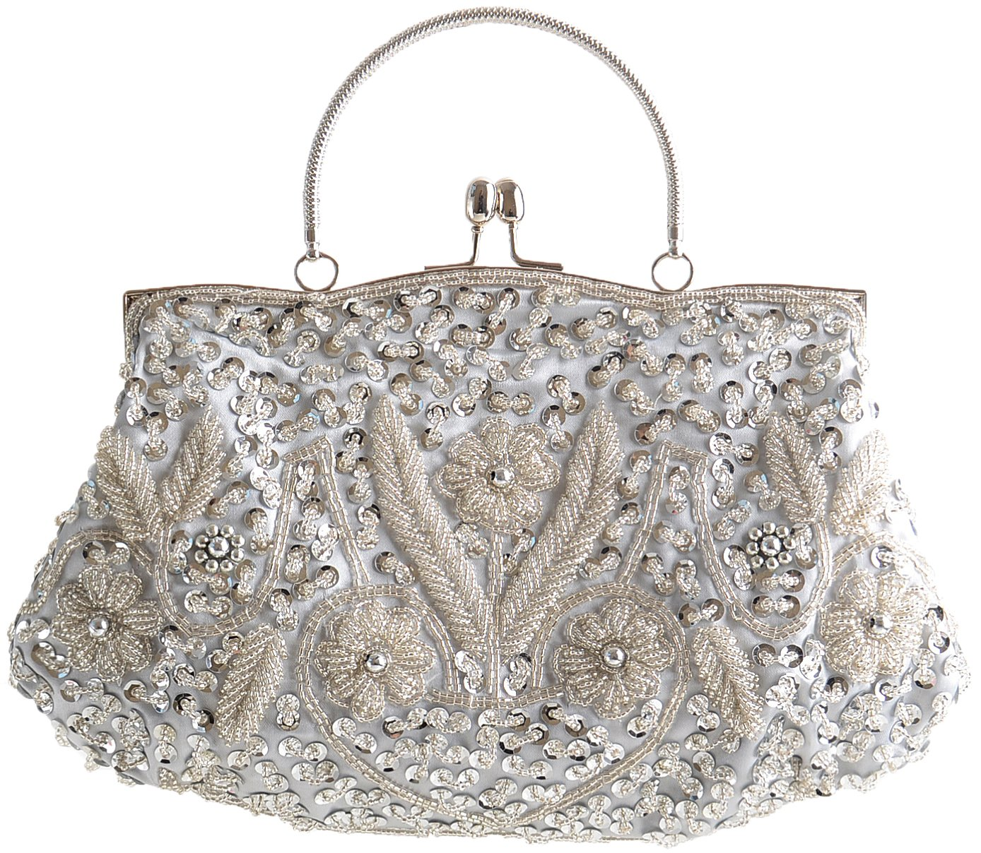 Womens Clutch 100% Handmade Sequins Wedding Bag-Pulama Bridal Handbag with Long Chain (Light Silver)