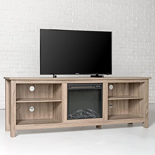 New 70 Inch Wide Fireplace Television Stand in Driftwood Finish