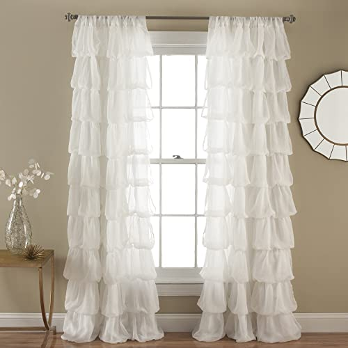 Lush Decor Olivia Window Curtain Panel, 84 by 50-Inch, Off White