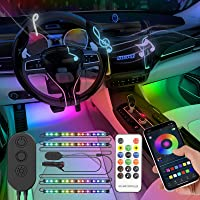 SUNPIE Car LED Interior Light Strip with App and Remote Car Strip LED Lights LED Sync to Music Color Changing 12V…
