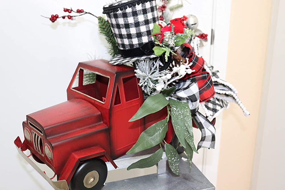 Christmas Red Truck Buffalo Check 5.5\u201d Salad Plate Accents