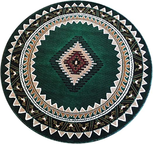South West Native American Round Area Rug Design D 143 Hunter Green 5 Feet X 5 Feet
