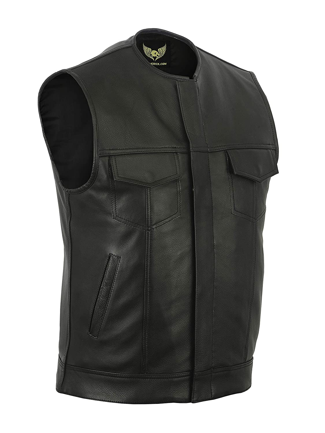Leatherick Mens Sons of Anarchy Collarless Genuine Leather Biker Vest