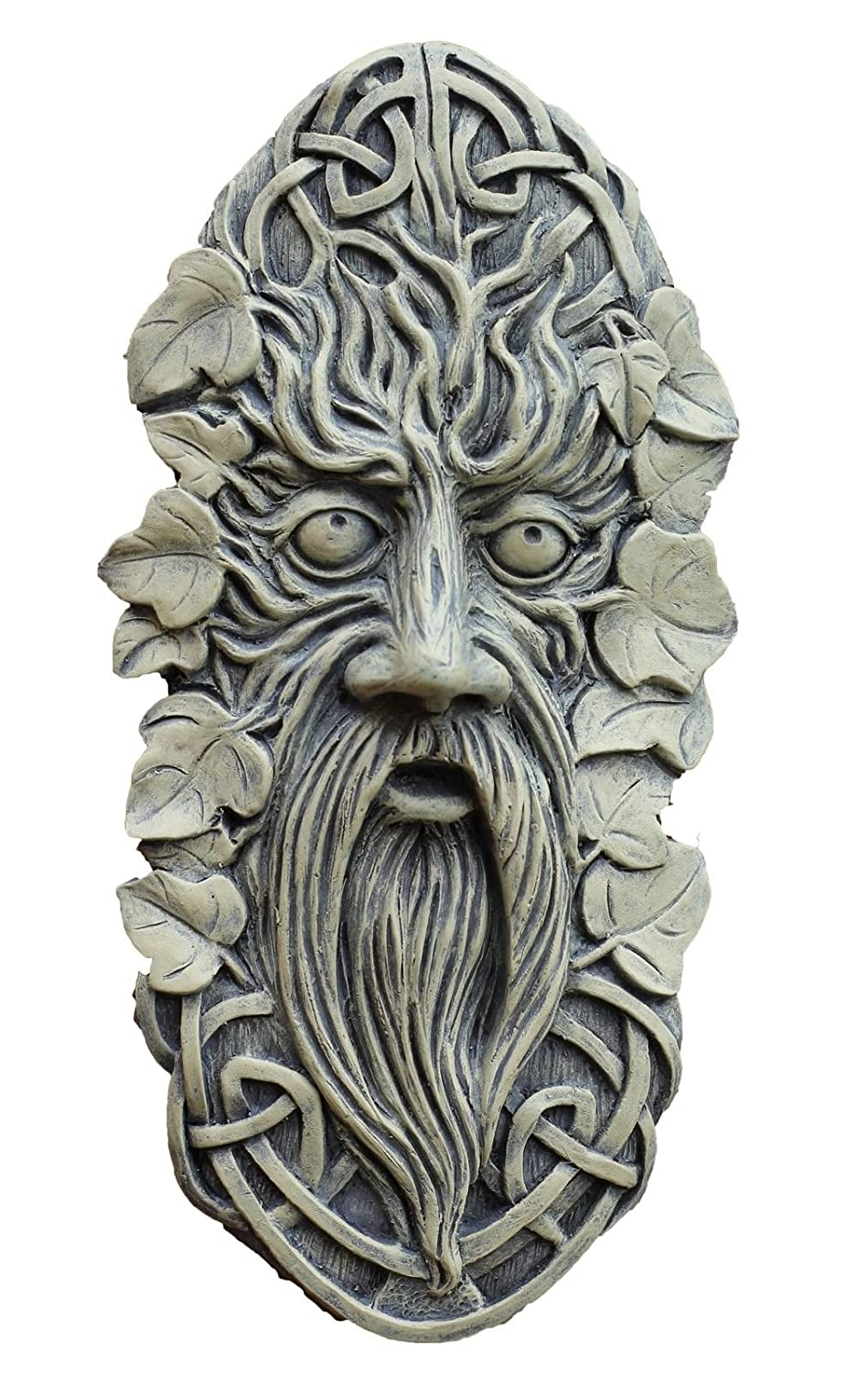 Celtic Face Garden Ornament Wall Plaque Stone colour HOME HUT® Home and Garden Products Ltd