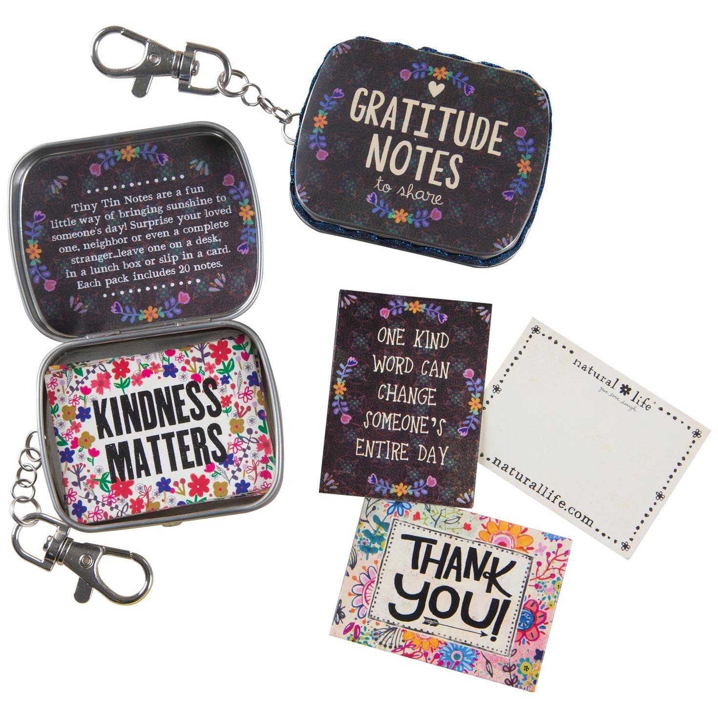 Natural Life Tiny Tin Gratitude Notes with Keychain Clip