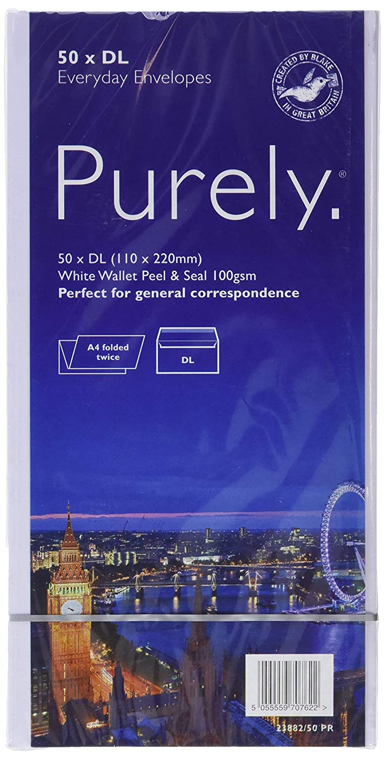 Purely 23882/50 PR Everyday DL 110 x 220 mm 100 gsm Peel And Seal Envelope - White (Pack of 50) Blake Envelopes