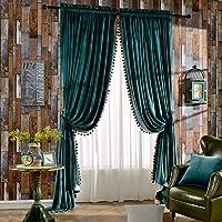 Melodieux Pom Pom Velvet Thermal Insulated Rod Pocket Curtains for Bedroom