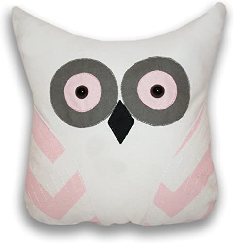 Thro by Marlo Lorenz 5882 Tootsie Applique Owl Shaped Pillow, 14 by 12-Inch, Blushing Bride