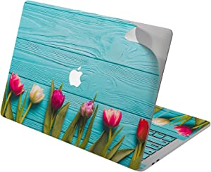 "Cavka Vinyl Decal Skin for Apple MacBook Pro 13"" 2019 15"" 2018 Air 13"" 2020 Retina 2015 Mac 11"" Mac 12"" Wood Protective Design Floral Tulip Girls Spring Print Cute Laptop Sticker Blue Cover Flower"
