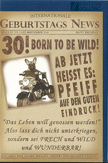Gluckwunschkarte Zum 30 Geburtstag Born To Be Wild Bulldogge