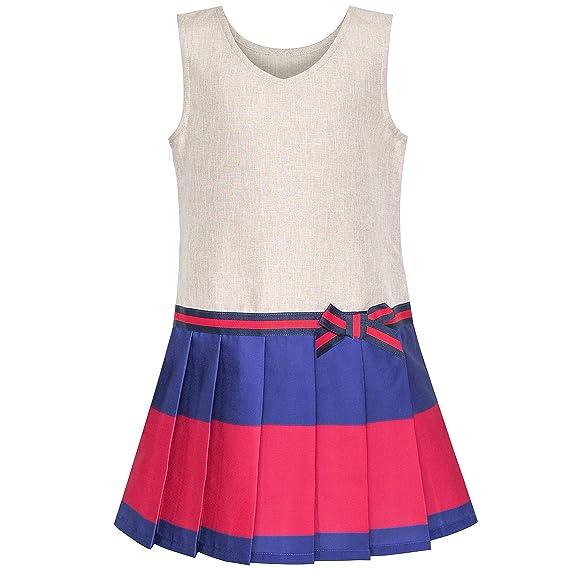 Sunny Fashion Vestido para niña Caqui Armada Plisado Falda Regreso a Clases Uniforme 4 años