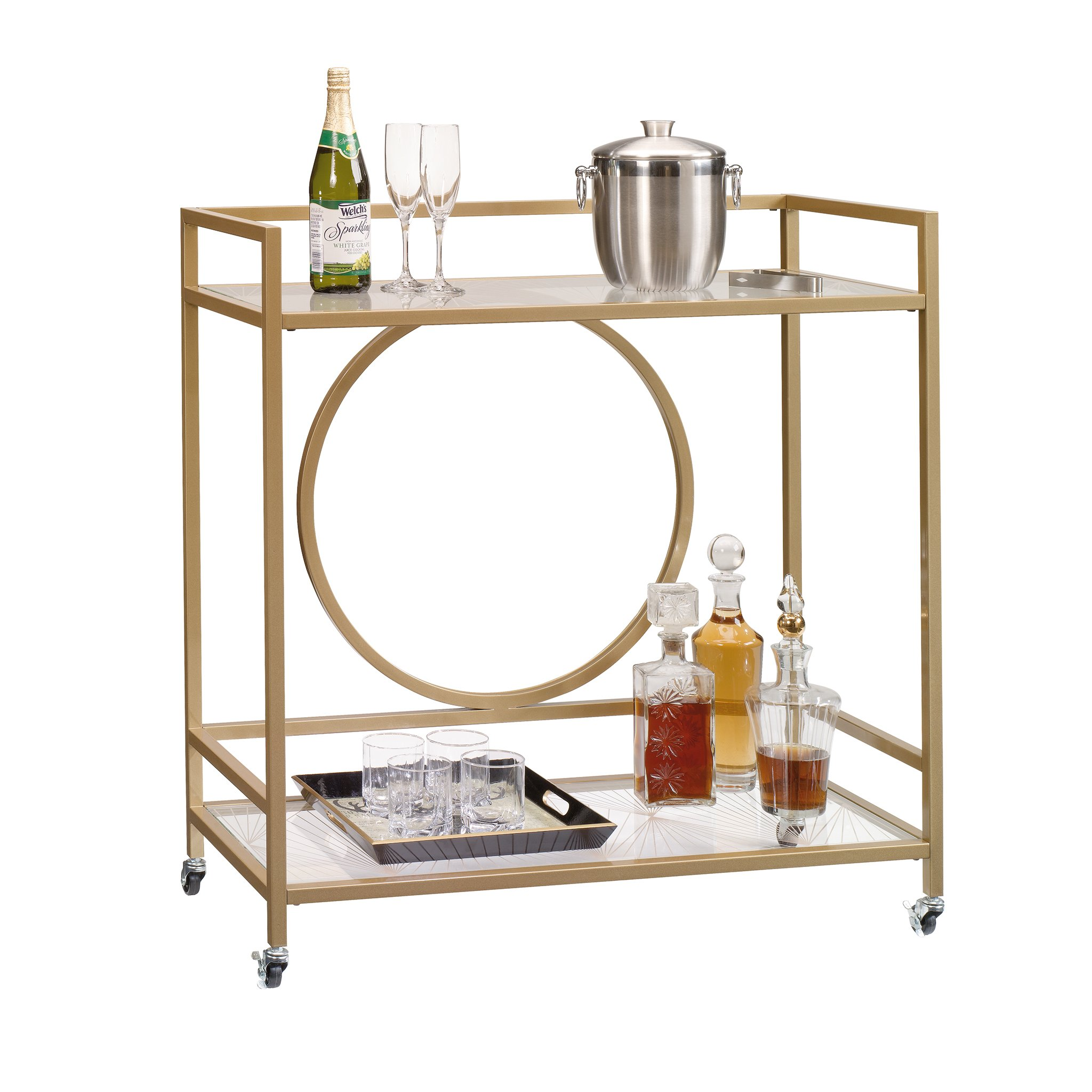 Sauder 417828 International Lux Bar Cart, Glass/Satin Gold Finish by Sauder