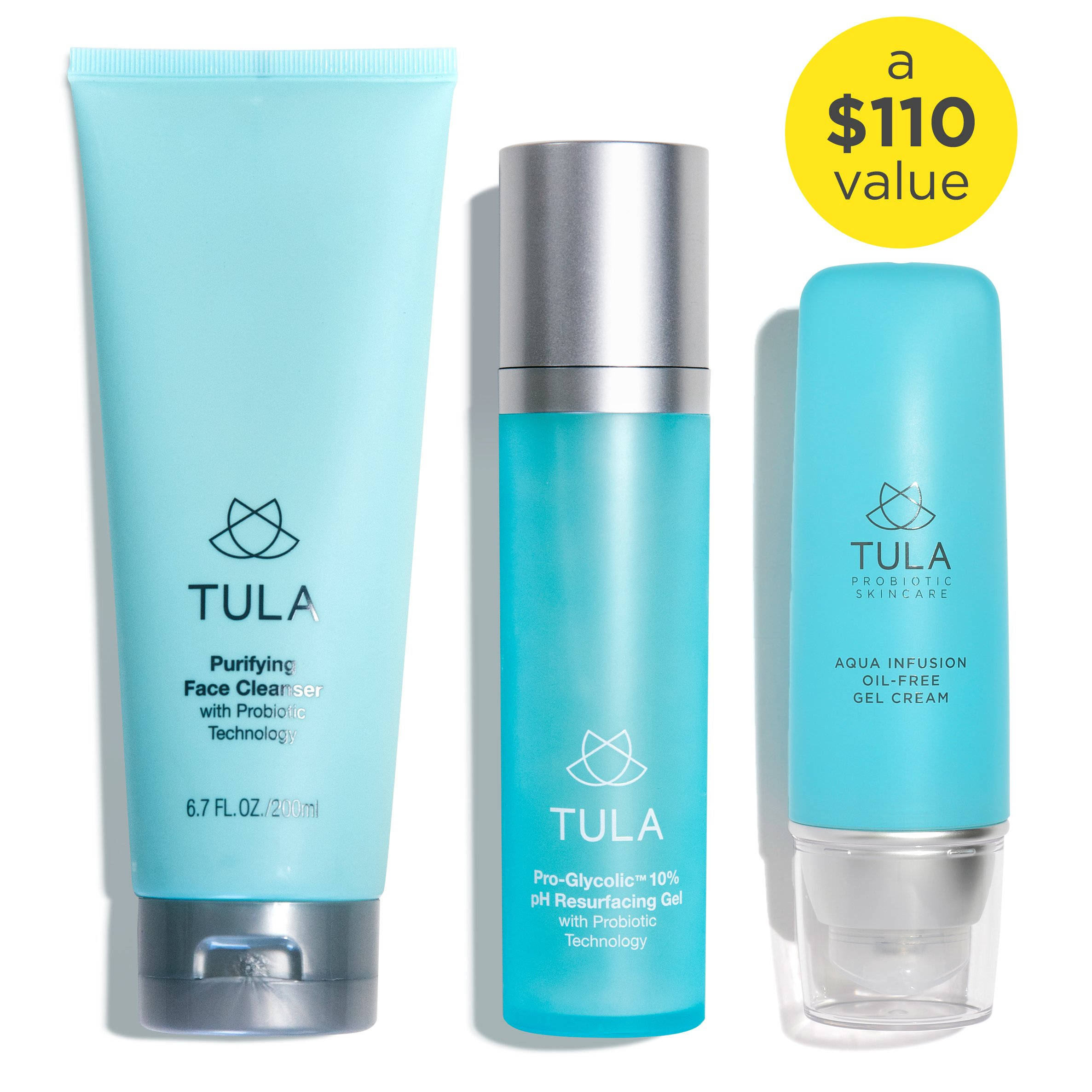TULA Probiotic Skin Care 3-Step Hydrated Skin Bundle   Full-Size Face Wash, Weightless Water-Based Face Moisturizer, Pro-Glycolic Resurfacing Face Toner   Best for Combination and Oily Skin