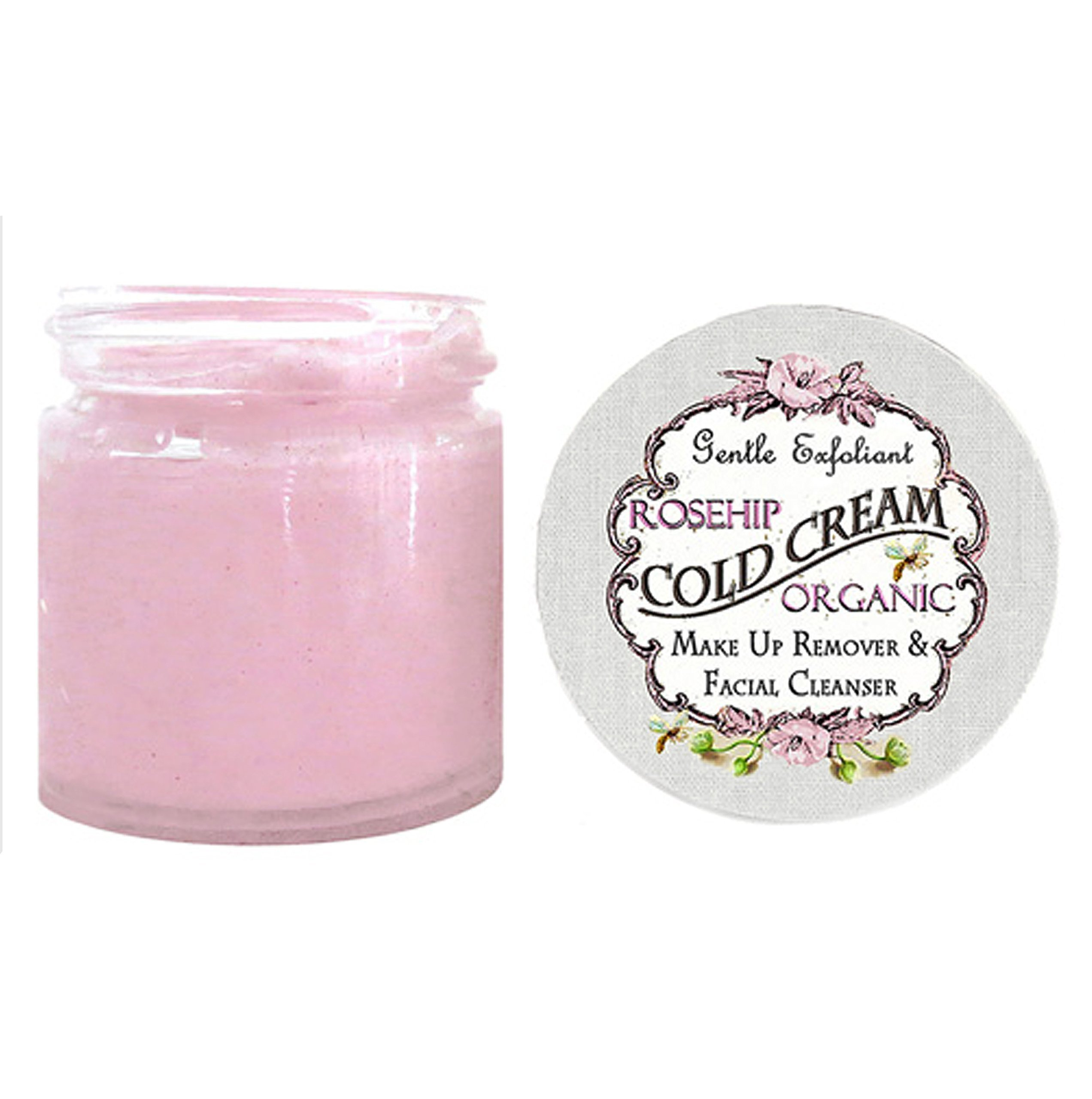 Organic ROSEHIP & COCONUT OIL Face CREAM Cleanser Makeup Remover and Facial Cleanser 100% Chemical Free Rose Cream Cleanser 4 OZ Glass JAR