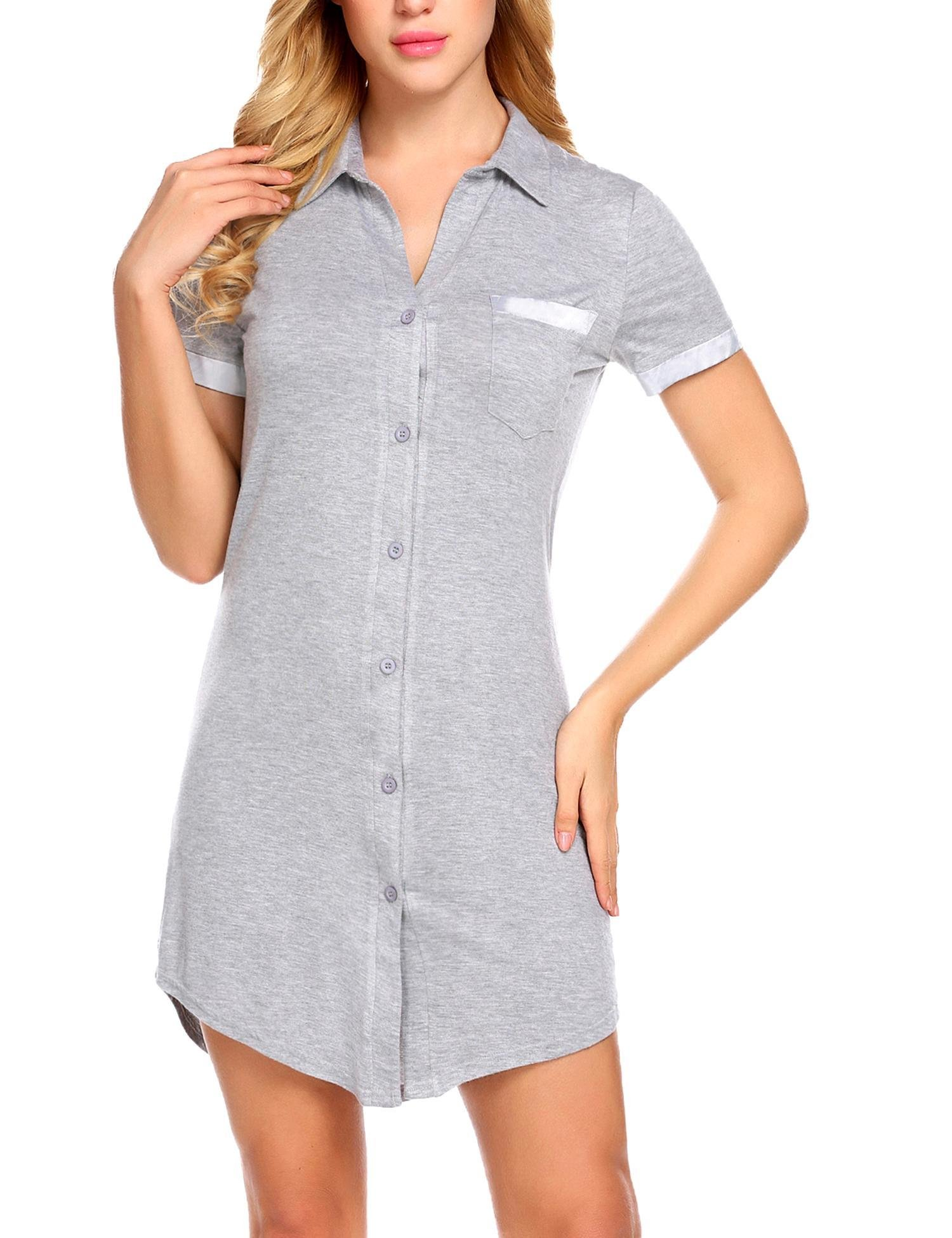 Avidlove Women Button Front Boyfriend Sleep Shirt Short Sleeve Nightshirts Lapel V Neck Sleepwear
