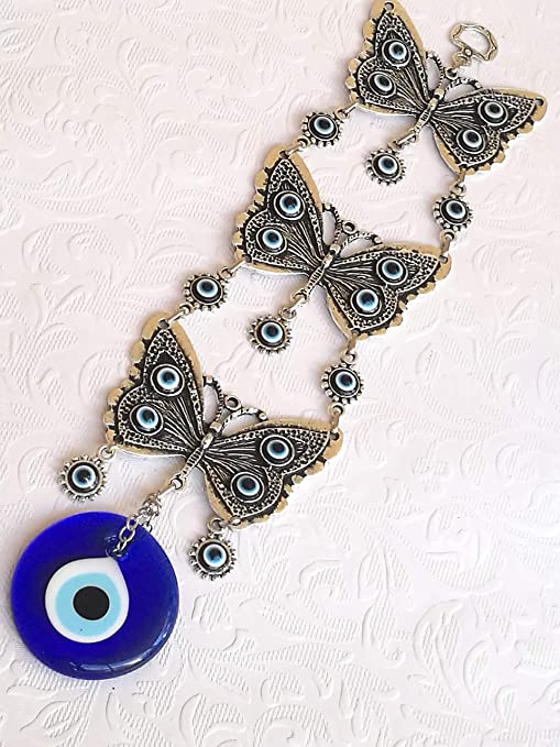 Wall Hanging Amulet Turkish Silver Plated Horseshoe /&  Evileye