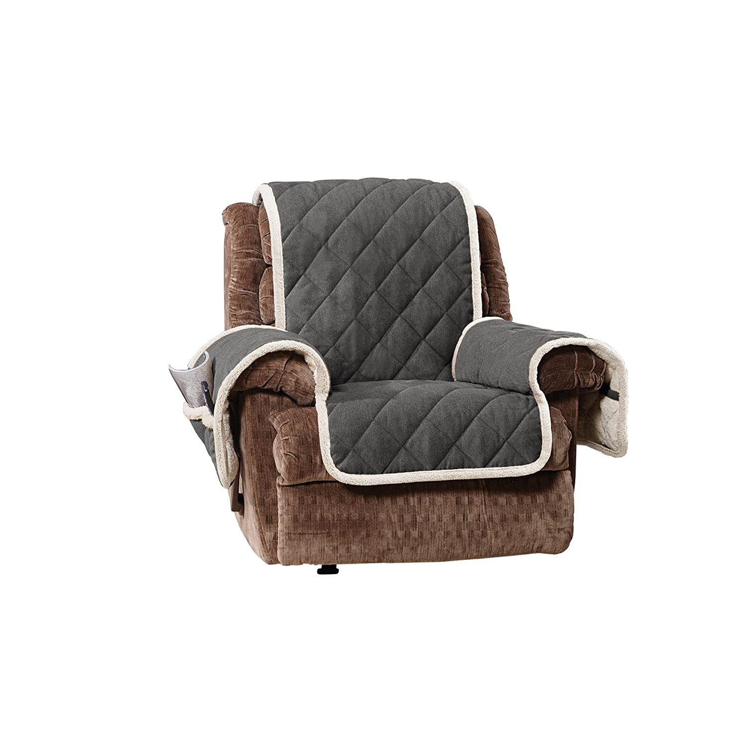 Sure Fitソフトスエード/ Sherpa Throw Recliner Recliner SF44278 B01MR0K2TD Graphite/Cream