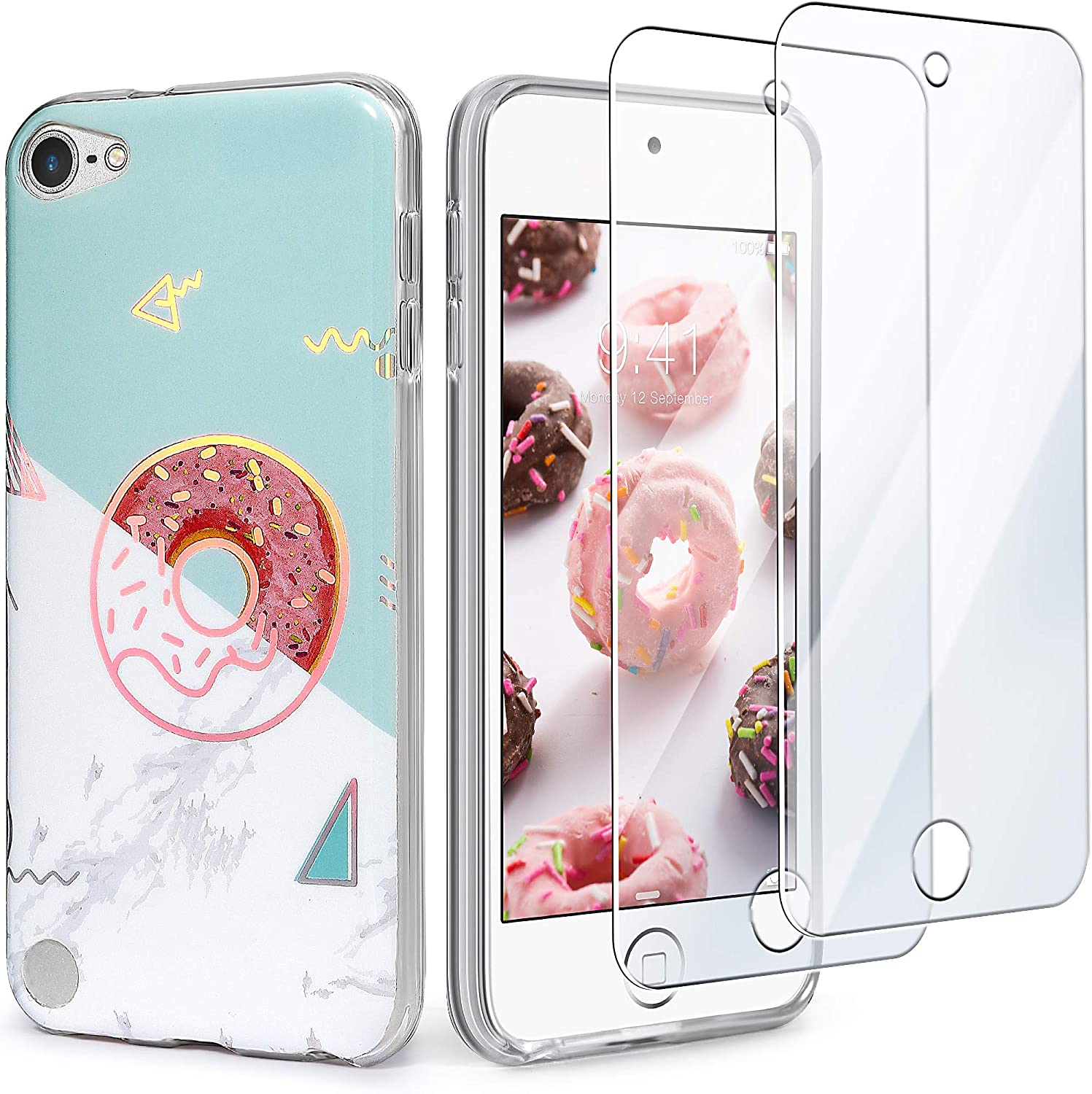 IDWELL iPod Touch 7 Touch 6 Touch 5 Case with 2 Screen Protectors,Slim FIT Anti-Scratch Flexible Soft TPU Bumper Hybrid Shockproof Protective Case for Apple iPod Touch 5/6/7th Gen ,Donut