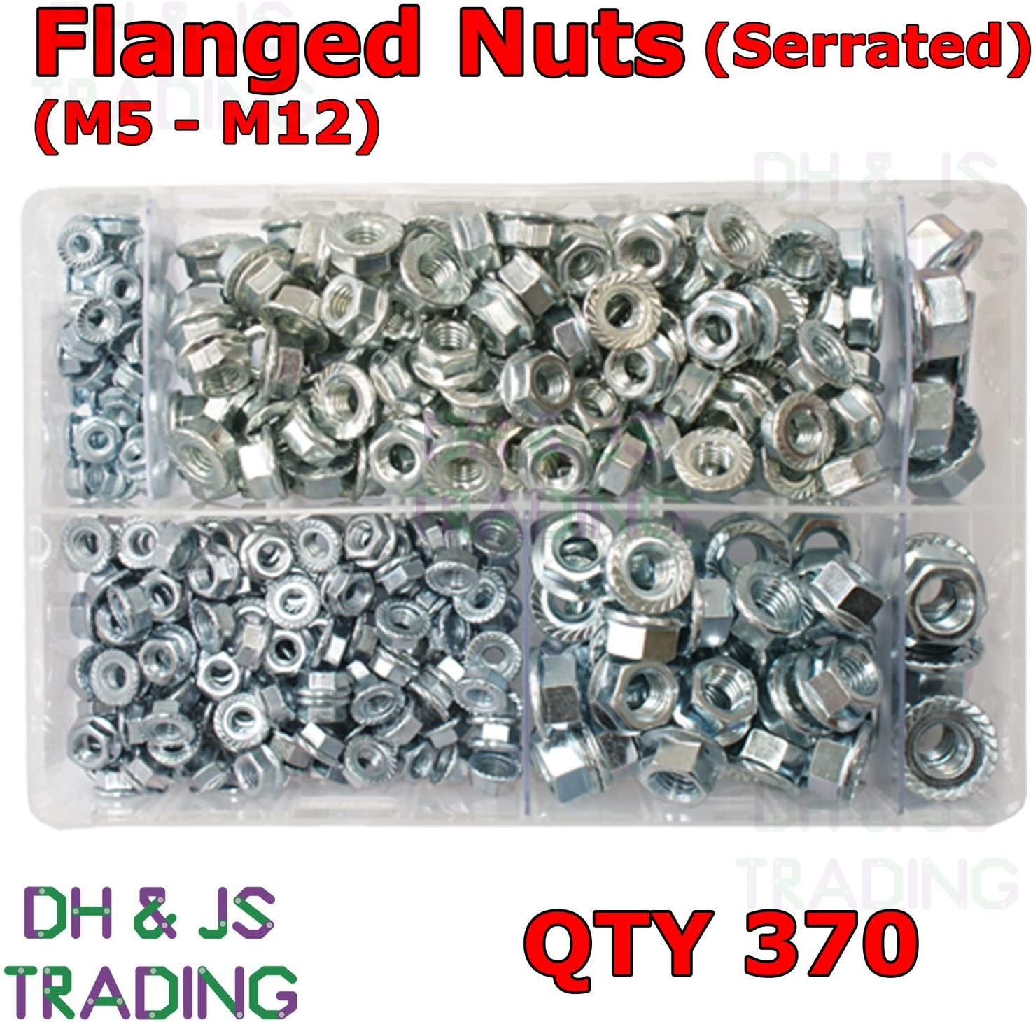 Assorted Box of Flanged Nuts Serrated M5 M6 M8 M10 M12 BZP Flange Hex Locking