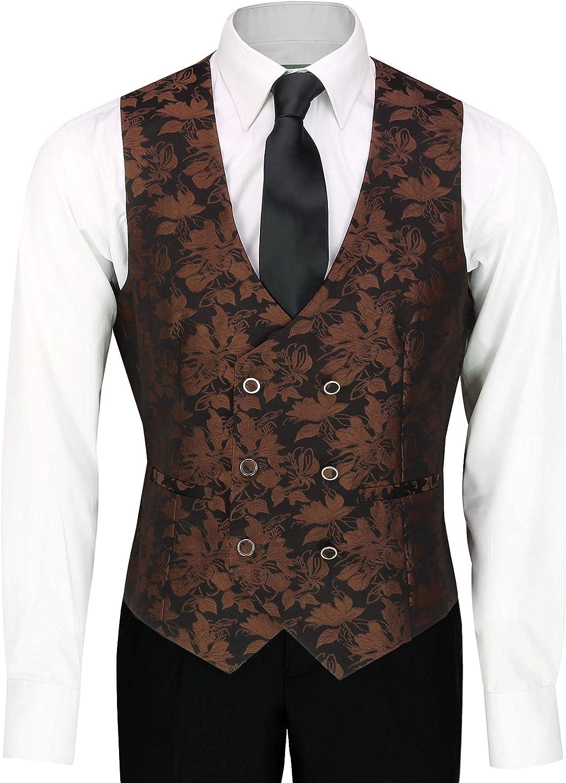Grooms 3 Pi/èces Costume De Mariage pour Hommes Vintage Paisley Classique Smoking Cintr/ée Veste Gilet Pantalon