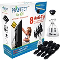 [Full Kit] Anti Tip Furniture Anchor & TV Straps w/Ultra-Strong Mounting Hardware & Safety Stud Finder Locks-in Heavy Objects for Instant Earthquake, Child & Baby Proofing (White, 8 Straps)