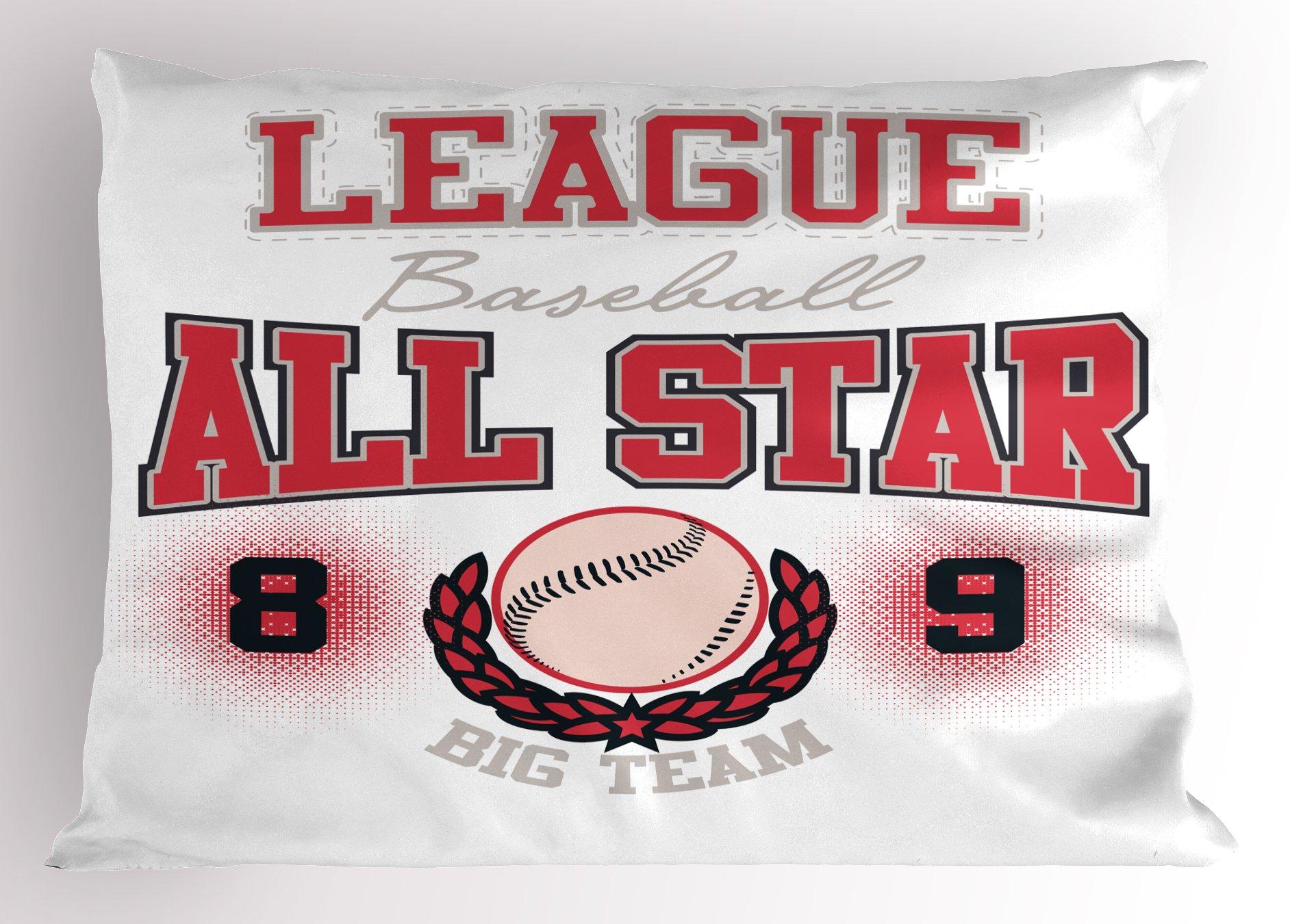 Ambesonne Sports Pillow Sham, College Baseball Softball Player League All Star Big Team Badge Champion, Decorative Standard King Size Printed Pillowcase, 36 X 20 inches, Dark Coral Black Peach