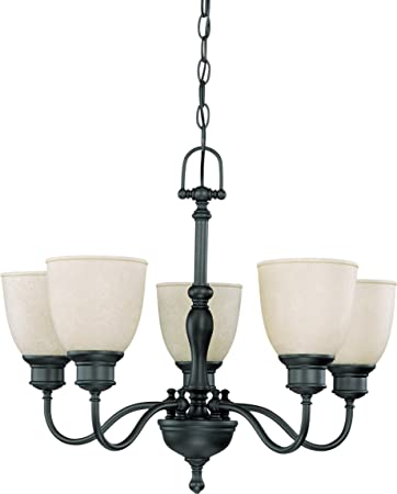 Nuvo 60 2776 5 Light Arm Up Chandelier with Biscotti Glass