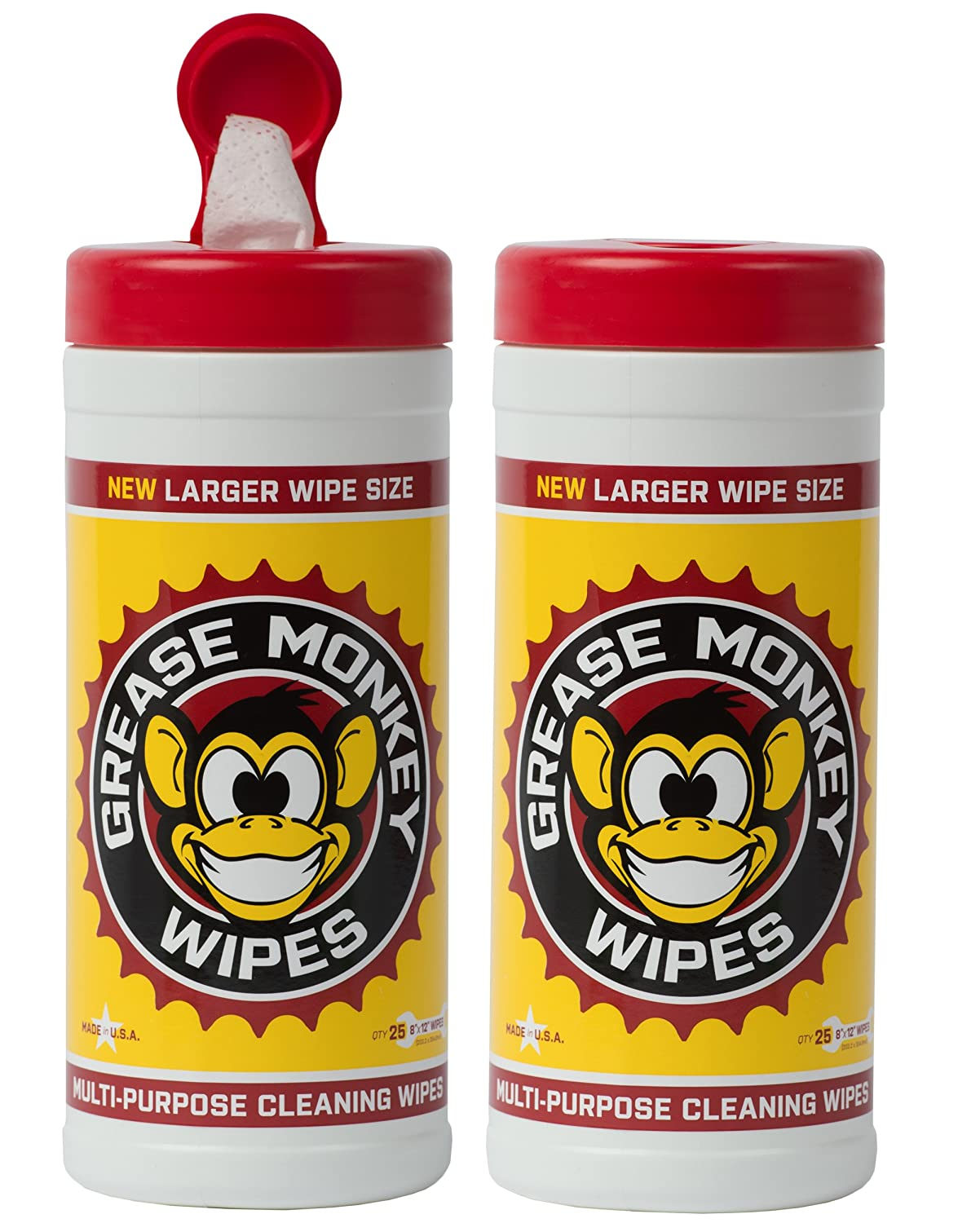 Grease Monkey Wipes Heavy Duty Multi Purpose Cleaning Wipes (Pack of 2), 25 Count Canister Beaumont Products Inc - Sporting goods 602072636