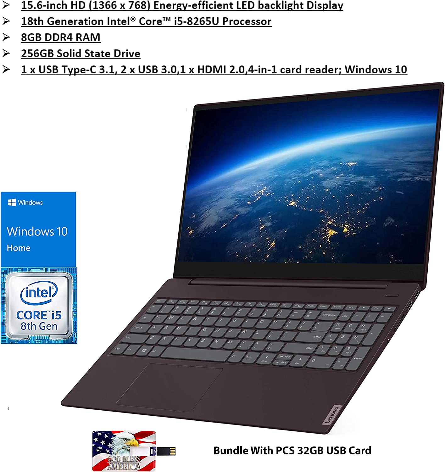 "New Lenovo S340 15 15.6"" HD Intel Core i5-8265U 8GB DDR4 RAM 256GB SSD Intel UHD Graphics 620 USB Type-C 3.1, 2 x USB 3.0 Dark Orchid Windows 10"