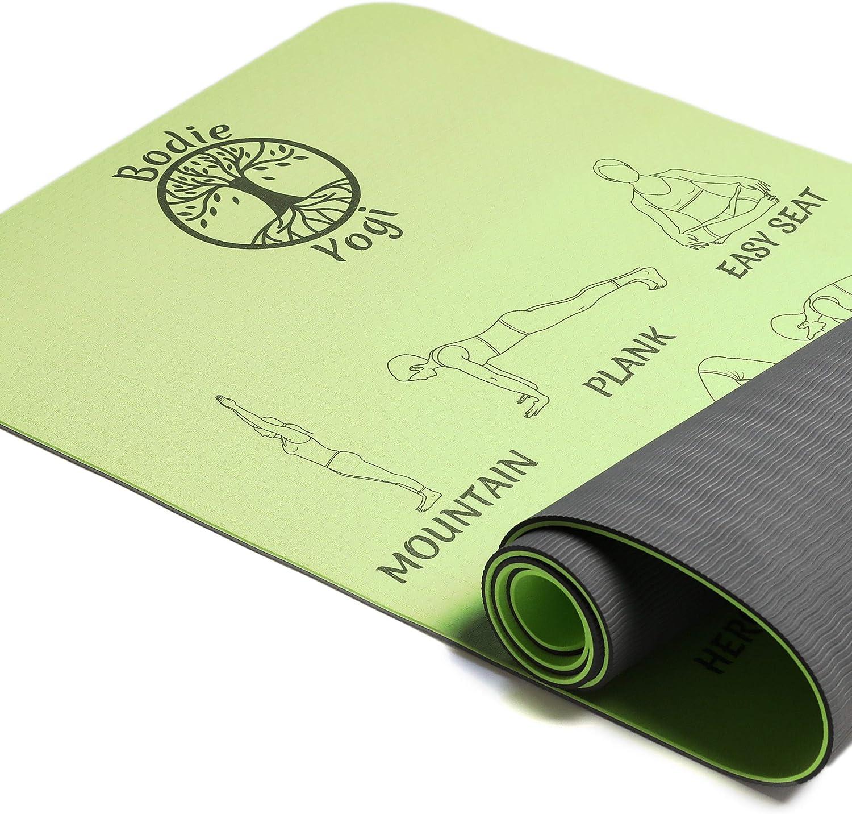 Bodie Yogi Non Slip Fitness Instructional Yoga Mat W Illustrated Poses, Eco Friendly, Non-Toxic, 24 X 72, 6mm Thick
