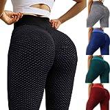 SUNTEAMO Women's High Waist Yoga Pants Tummy Control Slimming Booty Workout Leggings Ruched Butt Shapewear Tights