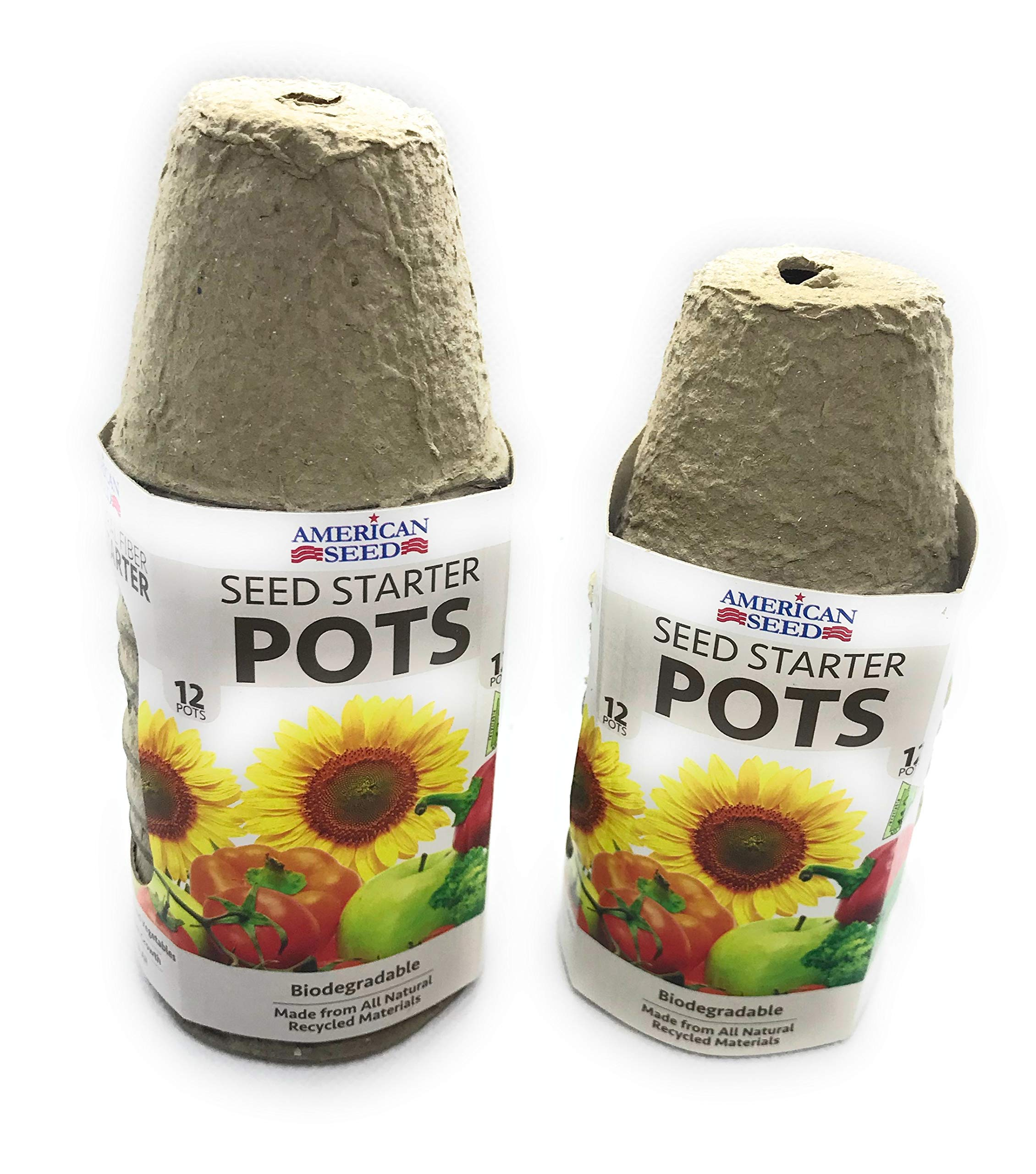 All Natura Fiber, Organic, Seed Starter Pots - 2 sets of 12 for total 24 Count