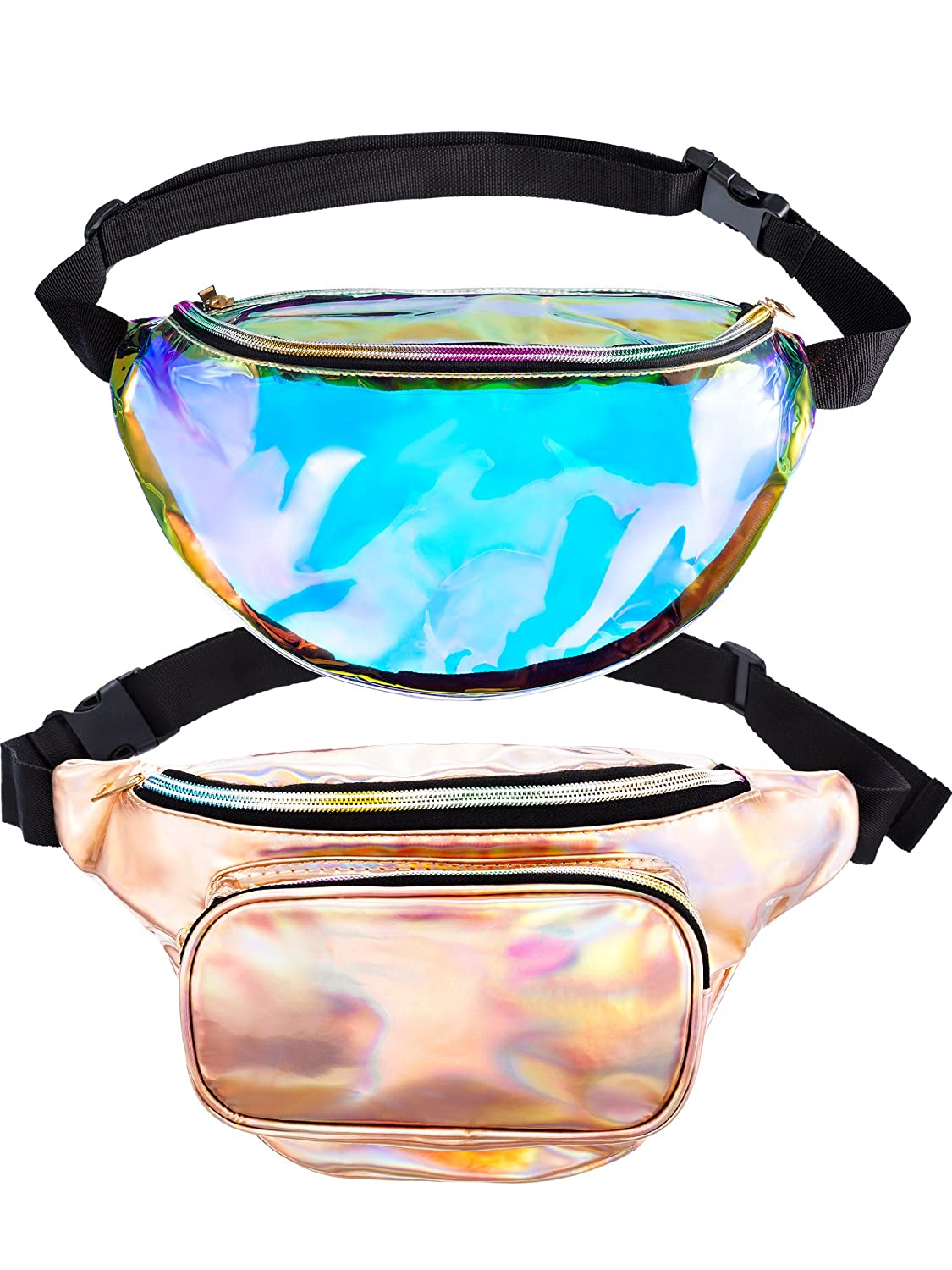 2 Pieces Fanny Holographic Packs Shiny Waist Bag Fashion Bum Bag with Adjustable Belt for Women Boao