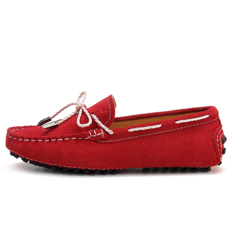 Shenduo Mokassins Leder mit Damen Sommer Schuhe Casual Slippers mit Leder Binden D7051 fb6f94