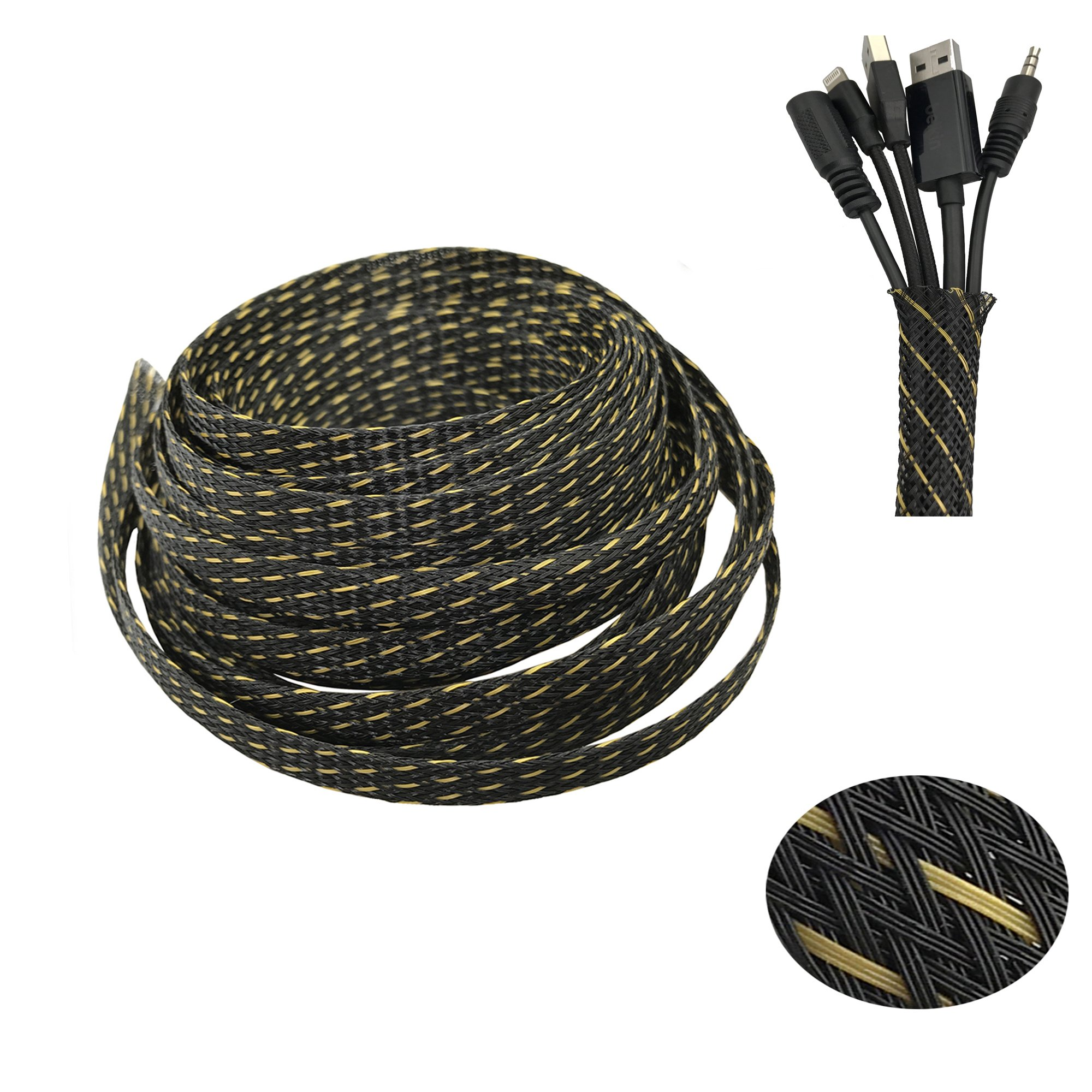 Cable management, Sleeving PET Expandable Braided Sleeve Blackyellow Cable Management Sheath for Home Office 25ft-1/2