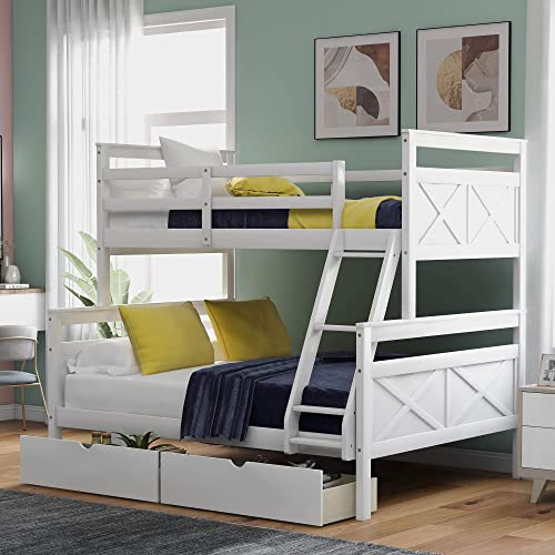 P PURLOVE Twin Over Full Bunk Bed Wood Bunk Bed