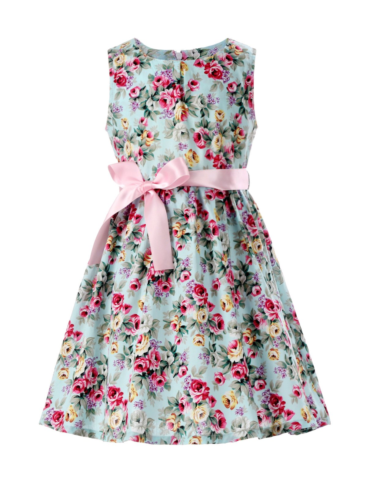 PrinceSasa Girls Summer Dresses Toddler Girl Clothes,Mint flower2,6-7 Years(Size 140)
