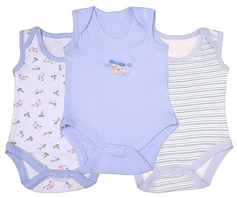 3 Pack mangas env cuello algodón body color azul (recién nacido ...