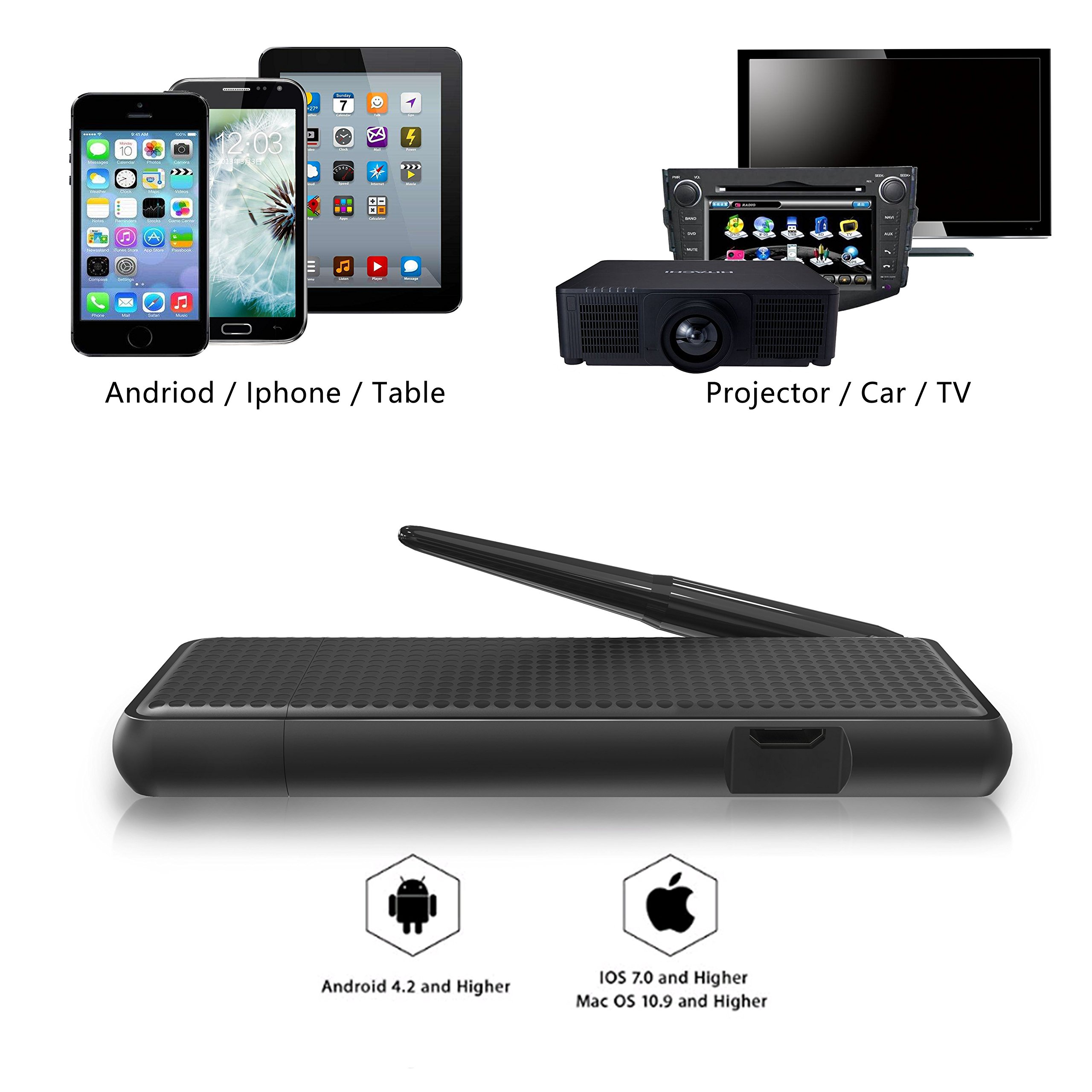 VICTONY Wireless And Wired 2 In 1 1080P WiFi Display Dongle, for TV,High Speed HDMI Miracast Dongle for Android/iOS Smartphone,Tablet,iPhone,iPad,Support AirPlay/Miracast / DLNA/Screen Mirroring by VICTONY (Image #1)