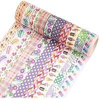 Washi Masking Tapes Set, 10 rollen Gekleurde Scrapbook Printing Masking Tape Decoratieve Tape Craft Supplies voor DIY…