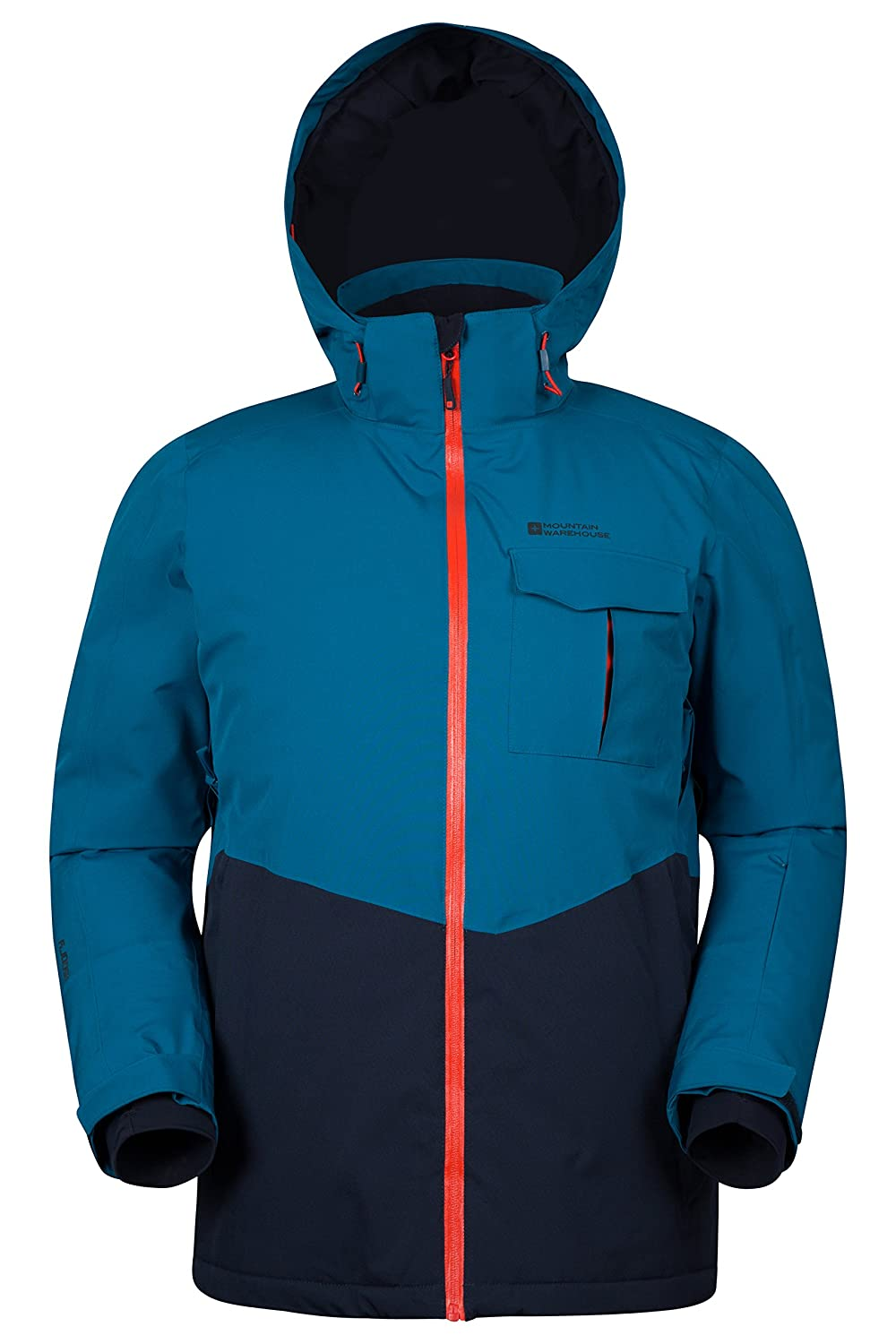 Mountain Warehouse Atmosphere Extreme Men's Ski Jacket - Waterproof, Taped Seams, Breathable IsoDry Fabric with RECCO Reflectors & Detachable Snow Skirt Navy Small 024584034003