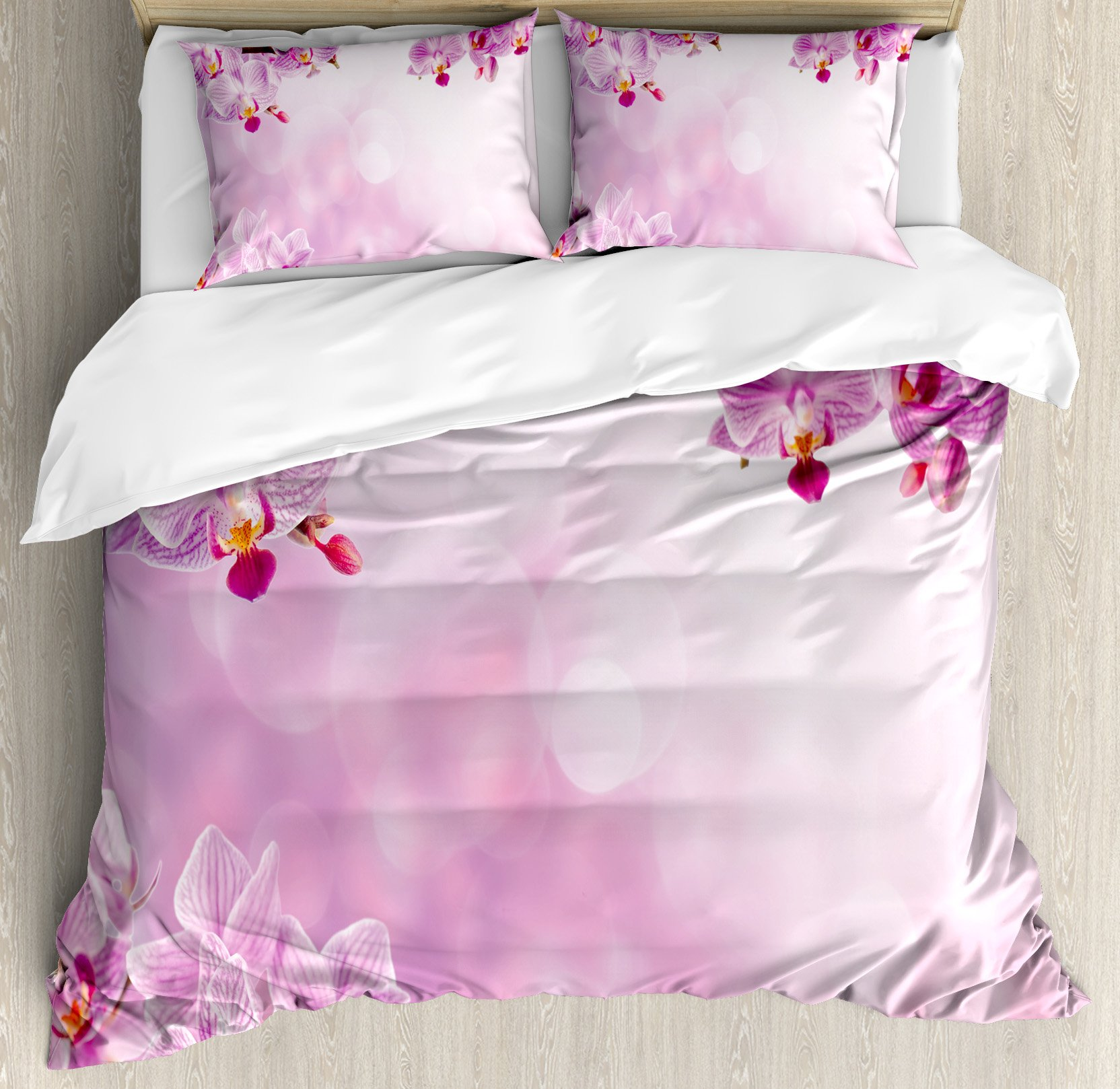 Spa Decor Duvet Cover Set by Ambesonne, Wild Orchid Petals in Monochrome Design Bouquet Spring Bloom Seedling Growth Peaceful Nature Print, 3 Piece Bedding Set with Pillow Shams, Queen / Full, Pink