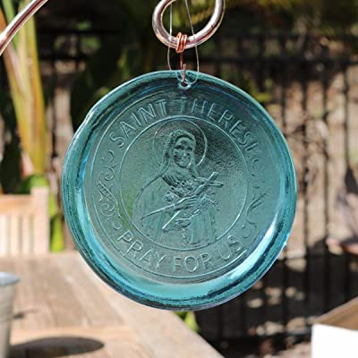 Mission Glass Works 4-Inch Saint Therese Suncatcher in Aqua from Our Religious Collection - A from Pressed from Hand Carved Steel Dies Made in The USA : Garden & Outdoor