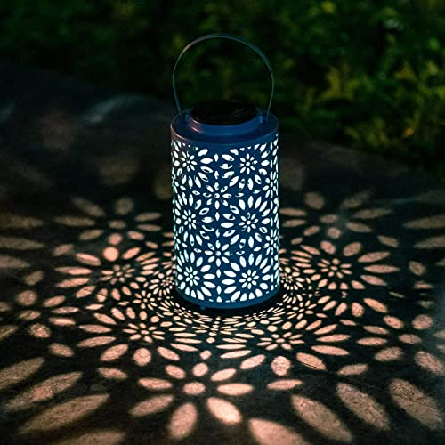 Afirst Solar Lanterns Hanging Outdoor Solar Lights Decorative Tabletop Lantern Metal Waterproof LED for Patio Pathway Deck Yard, Blue
