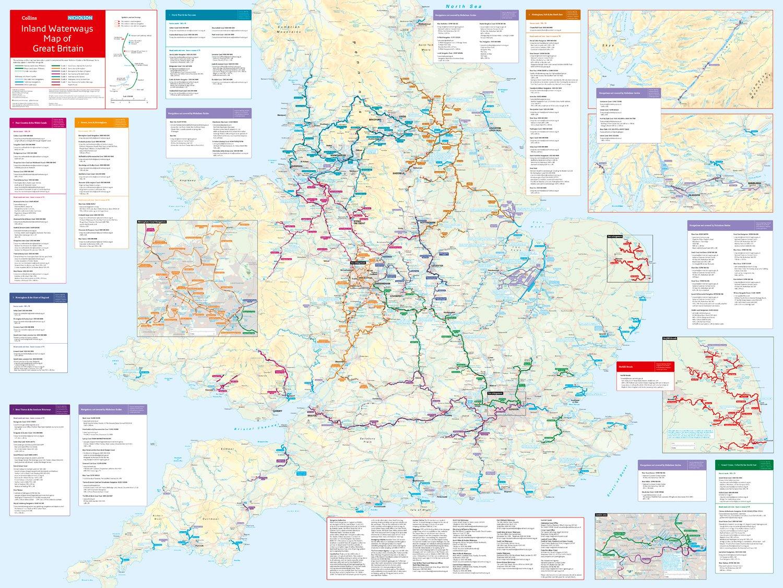 Collins Nicholson Inland Waterways Map Of Great Britain Nicholson - Map of great britain