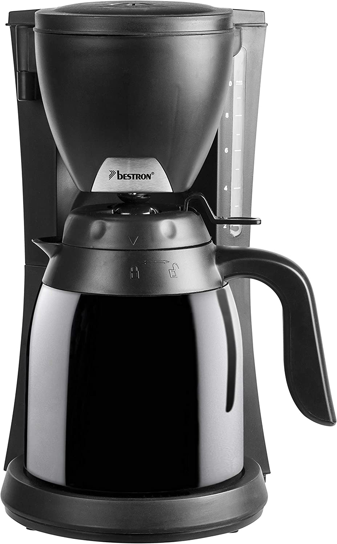 Bestron Cafetera con Termo, Para Café de Filtro Molido, Para 10 Tazas, 800 W, Negro: Amazon.es: Hogar