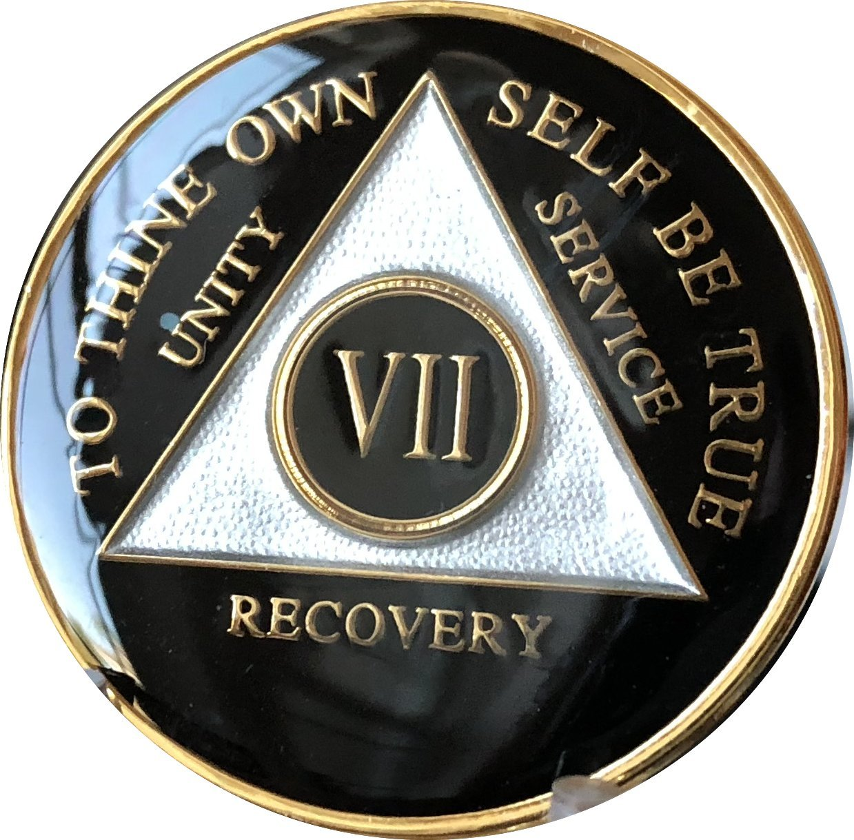 7 Year AA Medallion Glossy Black Tri-Plate Gold Plated Chip VII
