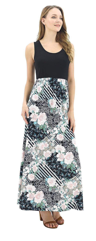 96cf8322a2c BENANCY Women s Summer Beach Contrast Sleeveless Tank Top Floral Print Maxi  Dress at Amazon Women s Clothing store
