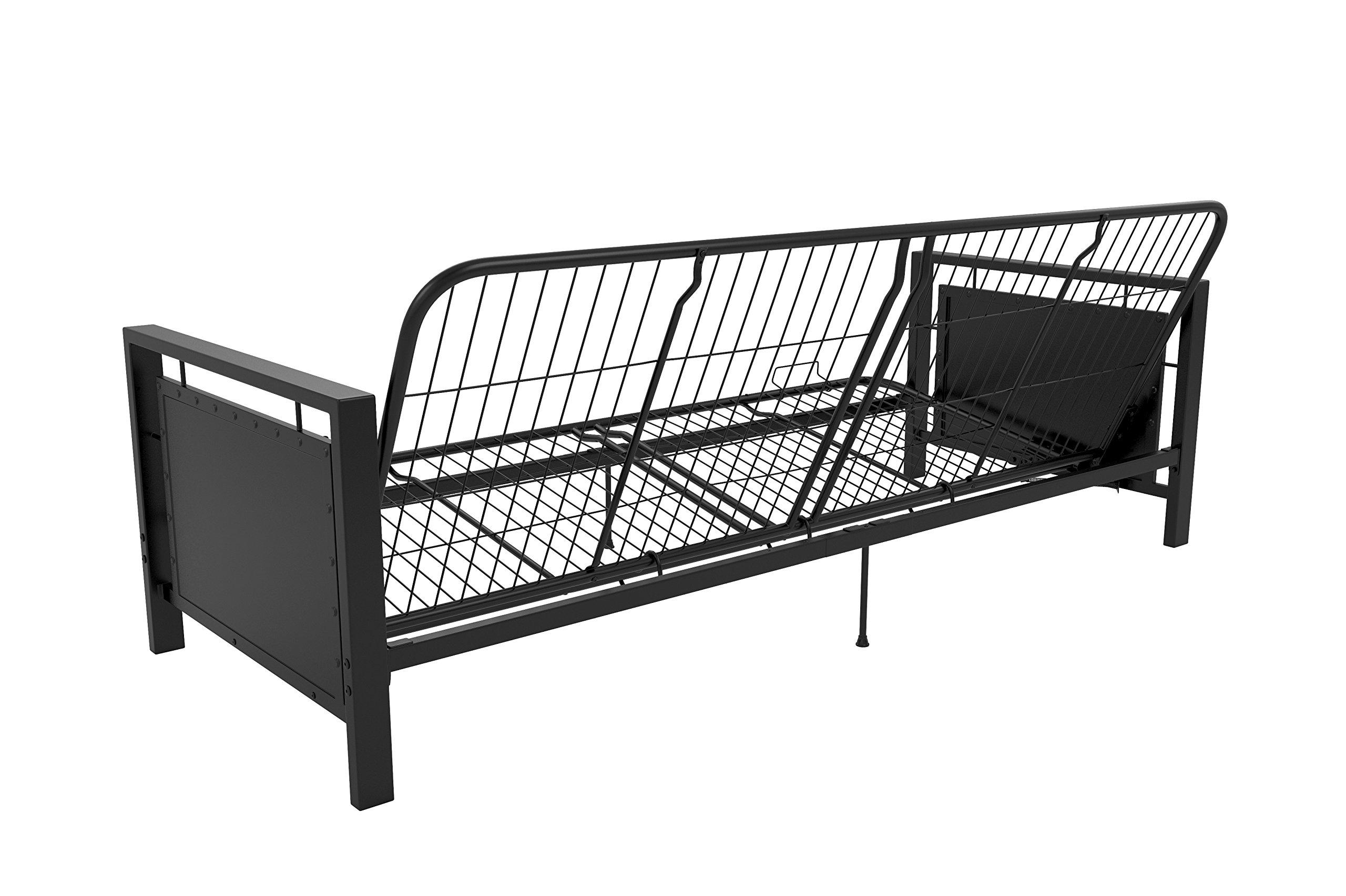 DHP Henley Metal Arm Futon Frame, Industrial Loft Design, Converts to Sleeper, Black Sturdy Metal by DHP (Image #9)